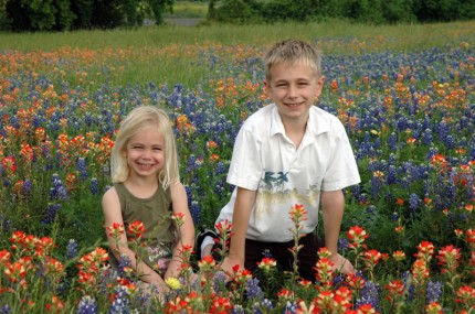 Kids in flowers... it's a winner.
