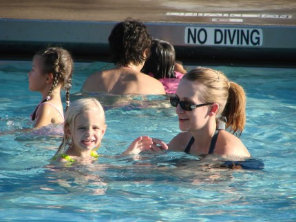 In the pool with Mom